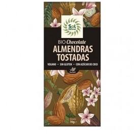 SOLNATURAL CHOCOLATE VEGANO ALMENDRAS TOSTADAS BIO 70GRS